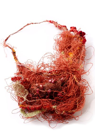 Necklace | Gabriela Horvat. 'Selfportraits - Cocoons' 2009. Silk, copper, chaguar, wool, hand dyed