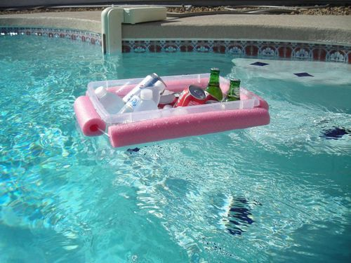 Cut a noodle and tie a rope through it, and around a Rubbermaid bin. Put it in the pool for easy access.