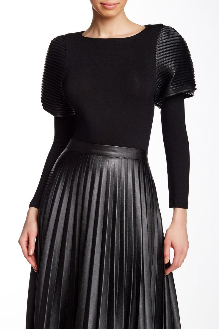 Pin Tucked Faux Leather Long Sleeve Tee by Gracia on @HauteLook/fucking cool! Who can pull this off?
