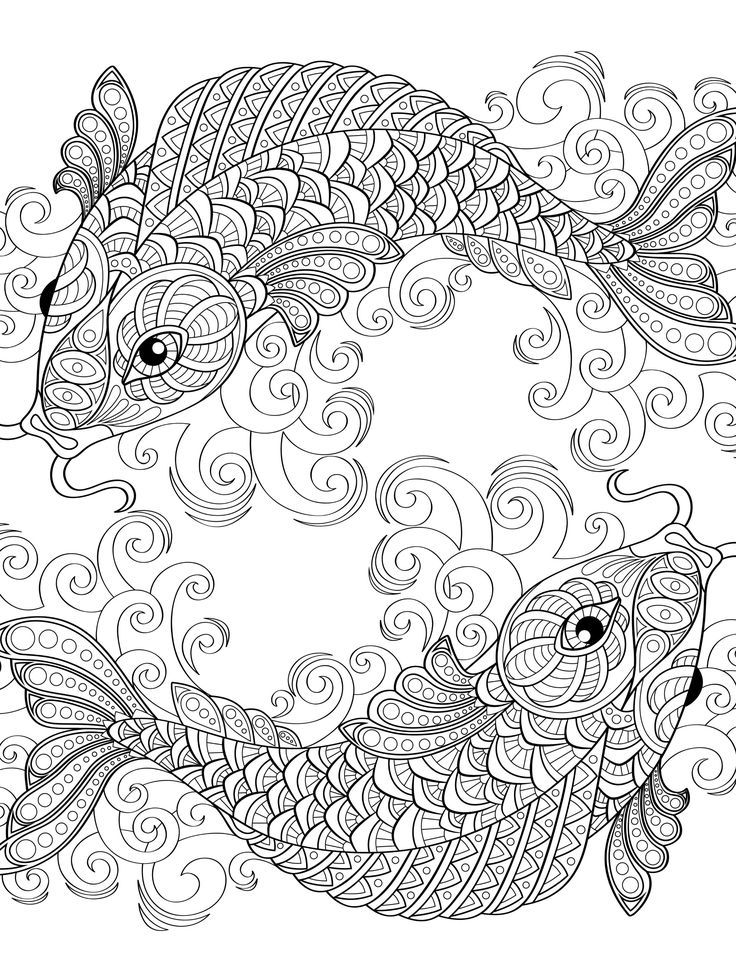 yin and yang pieces symbol fish : Absurdly Whimsical Adult Coloring Page