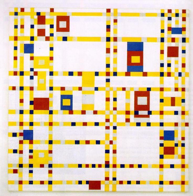 GEEL: Piet Mondriaan (1872-1944) schilderde tussen 1943 en 1944 in New York het schilderij 'Broadway Boogie Woogie'. Het werk is geschilderd in de drie primaire kleuren rood, blauw en geel, afgewisseld met wit en grijs. De dynamiek en kleuren van het schilderij zouden naar het stratenpatroon en het jazzleven van New York verwijzen.  Piet Mondriaan, 'Broadway Boogie Woogie', 1943-1944
