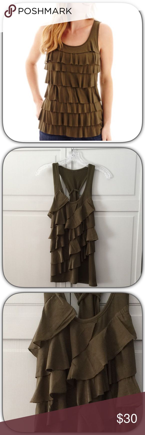 Beautiful Army Green Ruffled Racer Back Tank Top This is a super cute top! It ties in the back for a fun flirty look! It flows just beautifully! The stock pick is slightly different! Bust 17 Length 28 Boutique Tops Tank Tops