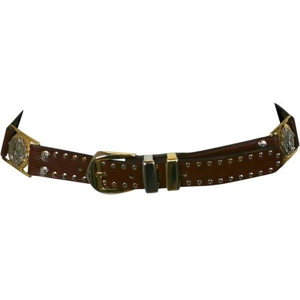 Preowned Gianni Versace Studded Medusa Mens Belt ($450) ❤ liked on Polyvore featuring men's fashion, men's accessories, men's belts, belts, black, versace mens belt, mens leather belts, mens leather accessories, mens studded leather belt and mens studded belt