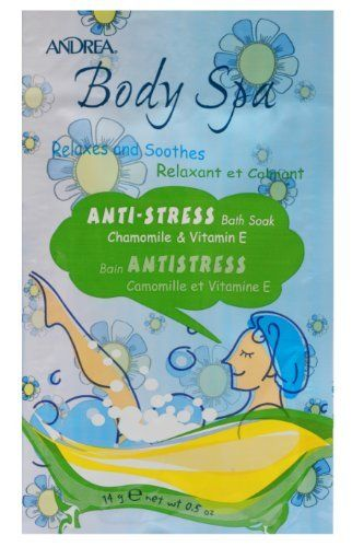 Andrea Body Spa Anti-stress Bath Soak - Chamomile and Vitamin E, 0.5-Ounce (Pack of 12) by Andrea. Save 39 Off!. $8.00. Chamomile and Vitamin E. Relaxes and Soothes. Pure, natural pleasure for your entire body and mind. Made in U.S.A. Relax, unwind and discover your body's softer, smoother side. Relax.  let the soothing chamomile and vitamin e anti-stress bath soak alleviate all your worries and concerns.  this bath soak is the ultimate therapy for today's stressful lifestyle.  enjo...
