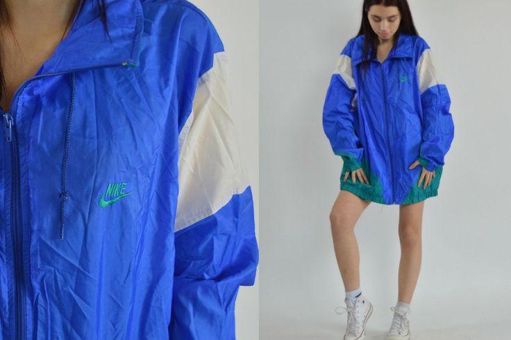 80s blue white Nike windbreaker   Vintage light Nike windbreaker jacket   Vintage color block oversized windbreakers jackets XXL