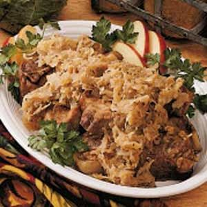 Country Pork 'n' Sauerkraut Recipe  http://www.tasteofhome.com/Recipes/Country-Pork--n--Sauerkraut#