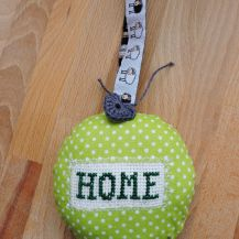 Hanging decor with Home cross stitch and funny sheep patterned ribbon - DolceDecor home decoration