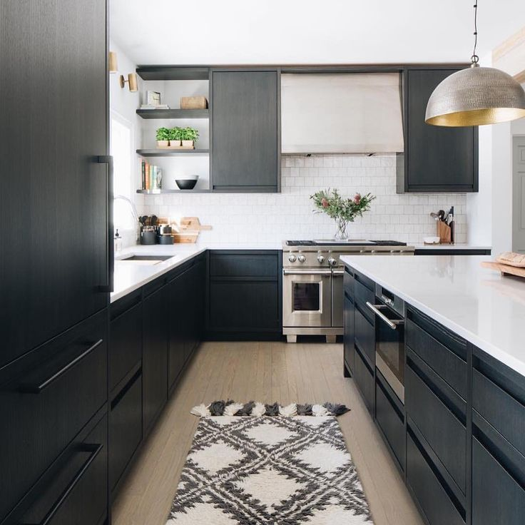 A Beautiful Modern Black Kitchen With Flat Panel Cabinetry And
