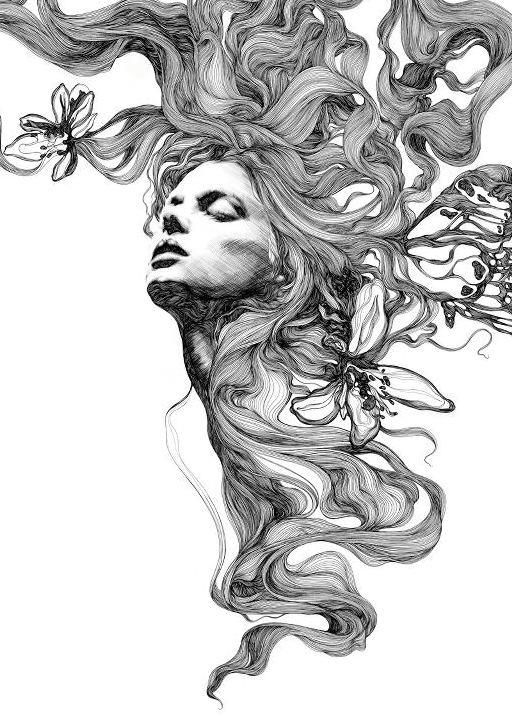 Line Art Hair : Gabriel moreno drawing pinterest
