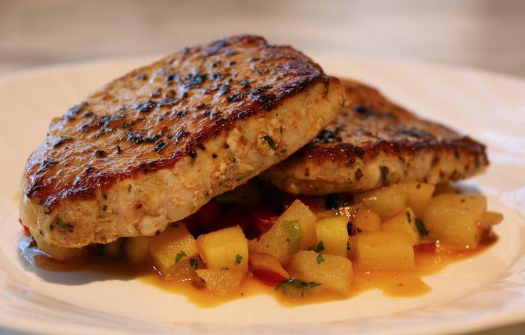 Herb Saute Pork Chops with Apple Chutney