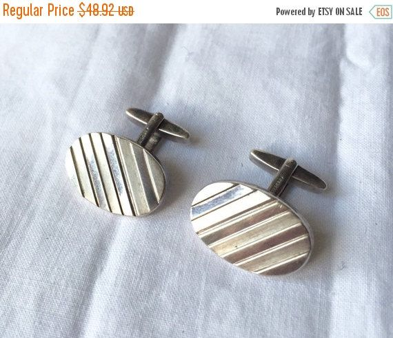 Vintage STERLING Cufflinks Polished Silver and Brushed Silver Stripes French Cut by StudioVintage on Etsy