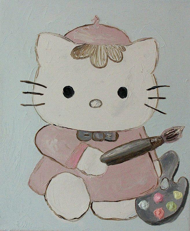 """hello-kitty-oil-painting (Хелоу китти, картина маслом) """"Artist Hello kitty"""" (20*30 oil/canvas, 2013) """"Китти художник"""" 20*30, холст/масло, 2013г"""