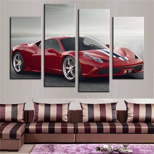 4 Pcs(No Frame)Red Sports Car Wall Art Picture Home