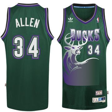 The Milwaukee Bucks began selling retro Ray Allen jerseys one day after the  shooting guard was not invited to the 2008 Boston Celtics .