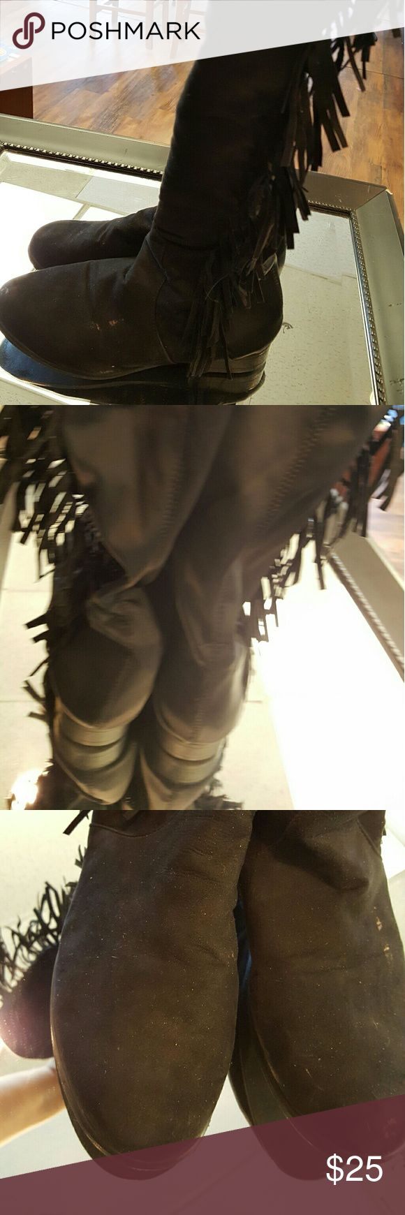 Woman's knee high boots with fringe  sz 9/10 Woman's knee high boots with fringe sz 9/10 Shoes Over the Knee Boots