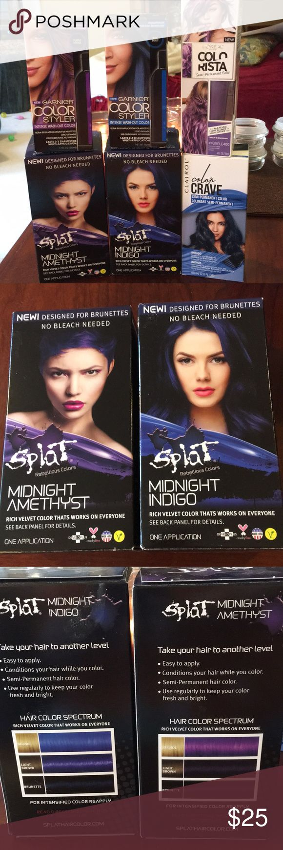 NEW 6 Boxes of Blue & Purple HAIR COLOR You will receive 2 boxes of SPLAT - one Midnight Amethyst and one Midnight Indigo.  They're Semi-Permanent but it doesn't say on the box how long the color lasts. These two boxes are designed for brunettes. You will also receive two boxes of Garnier Color Styer in Purple Mania and Blue Burst. They last 2-3 shampoos.  You will also receive 1 box of Clairol Color Crave in Indigo (semi-permanent) and 1 box of L'Oréal Colorista in Purple (lasts 4-8…