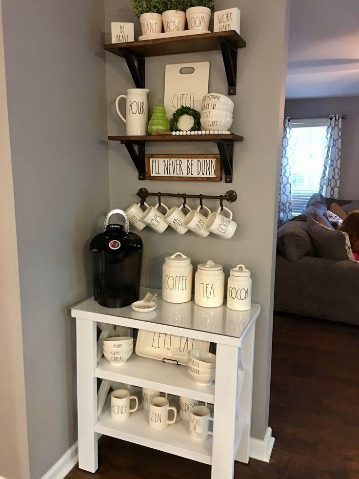 لعشاق القهوة افكار ركن القهوة والشاي في المنزل Coffee Corner زيزي كوم Diy Coffee Bar Coffee Bar Design Diy Coffee Station