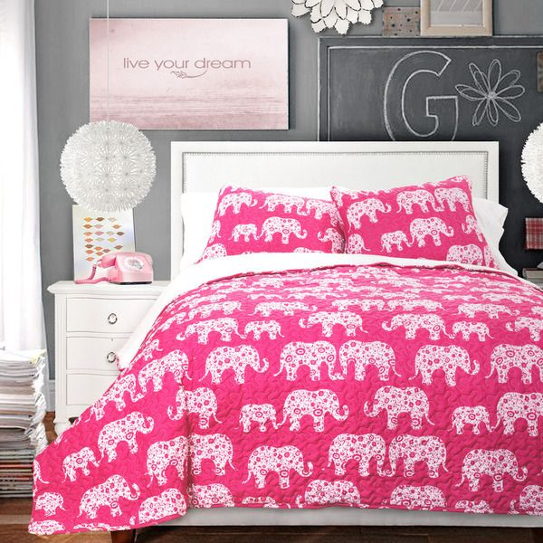 Lush Decor Elephant Parade 3-piece Sherpa Quilt Set - Overstock™ Shopping - Great Deals on Lush Decor Quilts