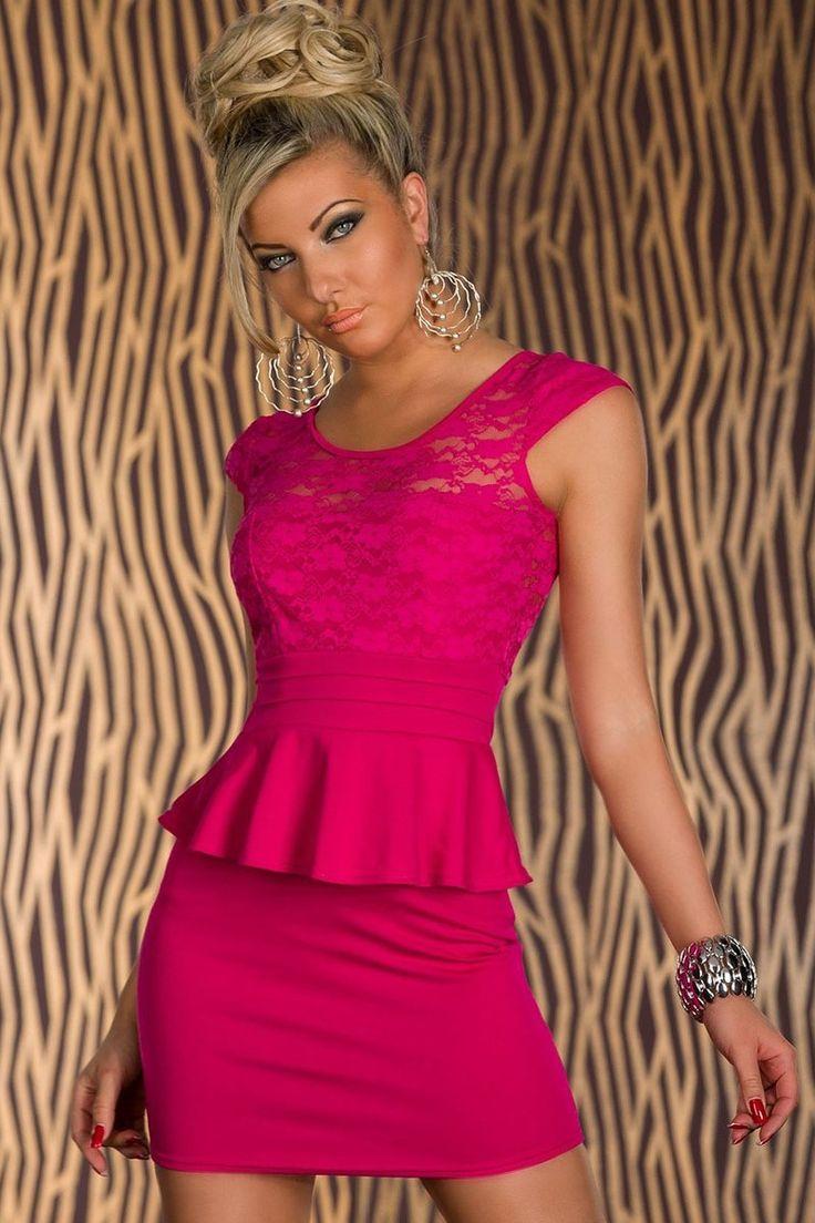 Sunflower Lace Cut-out Back Peplum Dress Roseo