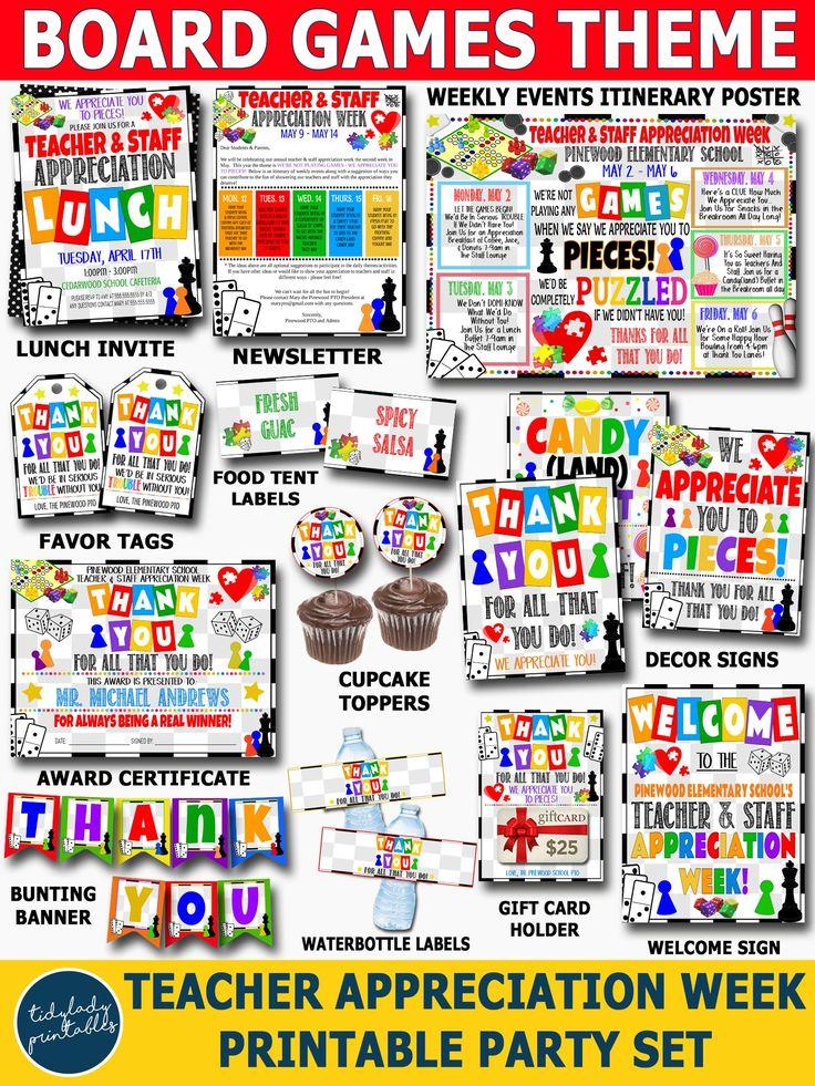 Games Theme Teacher Appreciation Week Printable Party Set
