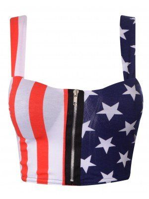 US Flag Zip Padded Bra Crop Top (S/M)