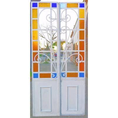 Puerta Hierro Dos Hojas Vidrio Color °  Estilo- Hogar  ° - $ 15.750,00 en Mercado Libre