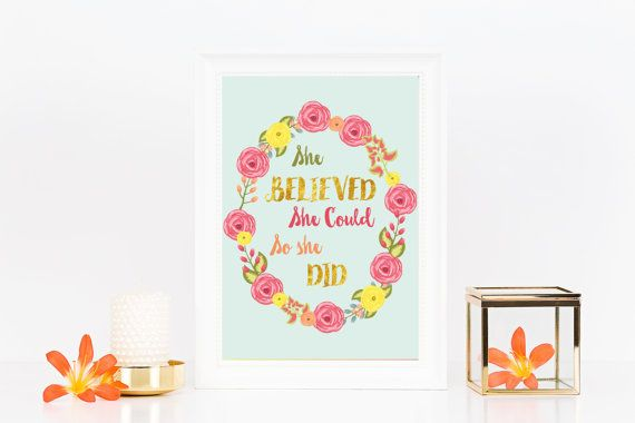 She believed she could so she did quote by PaperSpaceBoutique