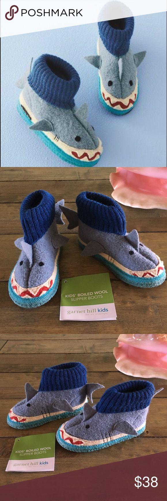 "🦈Garnet Hill Baby/Toddler Shark Slipper Boots🦈 🦈Super Cute Brand New w/o Box Garnet Hill /BabyToddler Boiled Wool Shark Slipper Boots🦈 UNISEX STYLE! 🦈 Size 07 🦈 Length 7"" 🦈 Handmade Super soft boiled wool boots with knit cuffs 🦈 Designed for INDOOR wear! Please read details in pic 8 🦈 Latex dots on bottoms and hard but bendable soles 🦈 Flexible wool & cuffs makes them easy to put on & take off 🦈 Never worn, no flaws!! 🦈 Sold out!! 🦈 Have soft shark fins on top, sides and backs…"