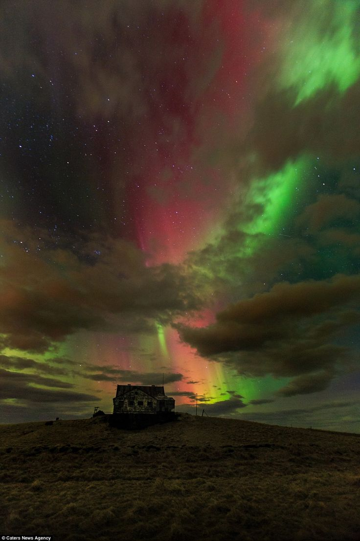 Magical: Northern Lights Display over an abandoned farm near the Icelandic town of Akranes. PS- NO IT DOESN'T !