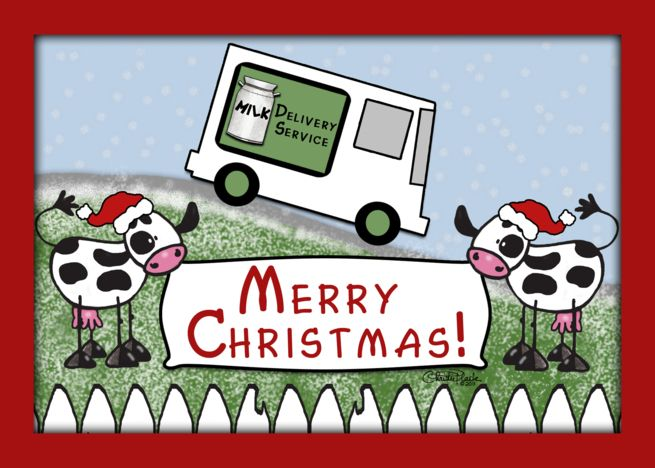 Merry Christmas From Milk Delivery Service Milk Truck And Cows Card Ad Spon Milk Delivery Merry Christmas Milk Delivery Merry Christmas Merry