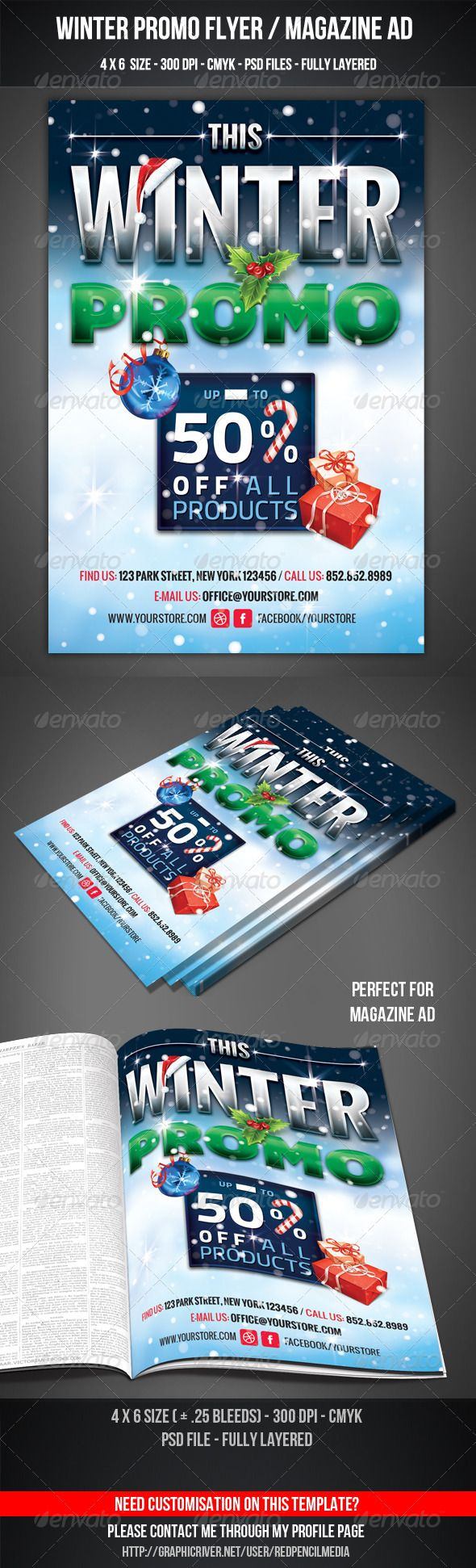 Winter Promo Flyer / Magazine AD  #GraphicRiver        Winter Promo Flyer / Magazine AD     Winter Promo Flyer / Magazine AD  Features and technical specs: • print size: 4×6 inches (Portrait) • bleed area: 0.25 inches • resolution: 300 dpi • color format: CMYK • template file type: Photoshop .psd  Free fonts used in design: Oswald – free for download at:  .google /webfonts Bemio – free for download at:  .losttype /font/?name=bemio TitilliumText22L – free for download at:  .cufonfonts…