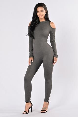 Wake In The Night Jumpsuit - Charcoal
