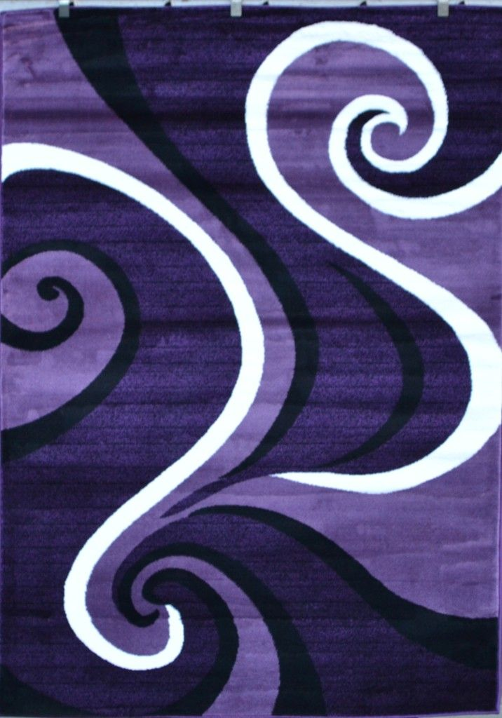 0327 Purple Black White Modern Abstract Swirls Area Rug