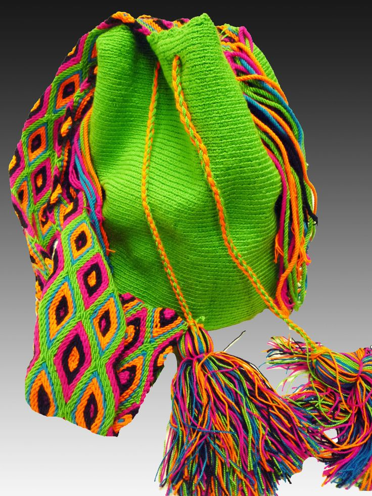 """Wayuu Taya Foundation Bags. Patricia Velasquez founded the Wayuu Taya Foundation in 2002 to improve the lives of over 450,000 indigenous people in Colombia and Venezuela, while maintaing their traditions, cultures, and beliefs. Each one-of-a-kind bag, known as a """"susu,"""" is a tribal tradition that takes 20, 8-hour days to create. Proceeds from bag sales go directly back into the community. Buy yours here at www.wayuustore.com"""