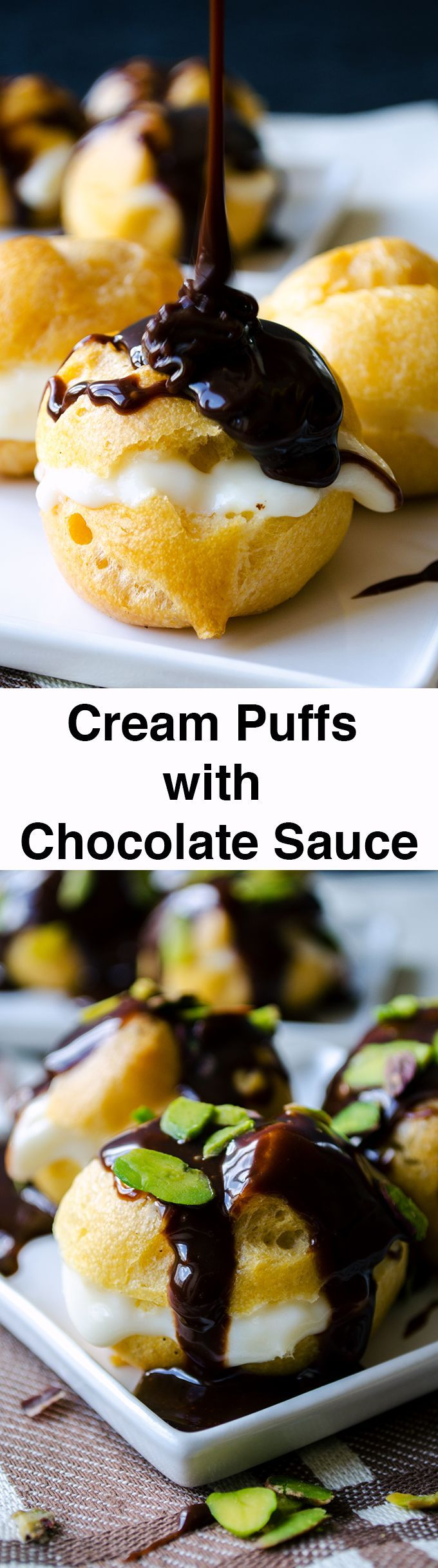 Cream puffs with chocolate sauce can be made at home. Regular custard filling is used in this recipe, but you can use different fillings too.