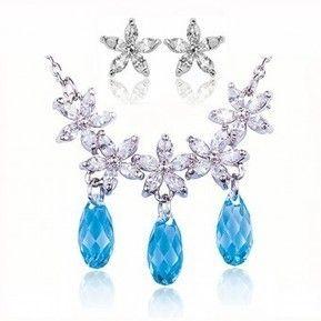 Set bijuterii Safiria cu elemente swarovski culoare topaz placate cu platina
