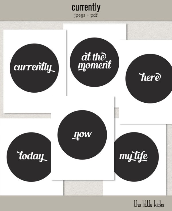 Freebie: Project Life 'Currently' journaling cards | [ One Velvet Morning ]