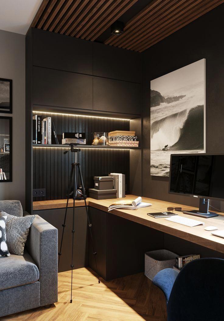 Dark Modern Office Homeofficefurnitureideassmallspaces Office Interior Design Home Office Design Modern Home Office