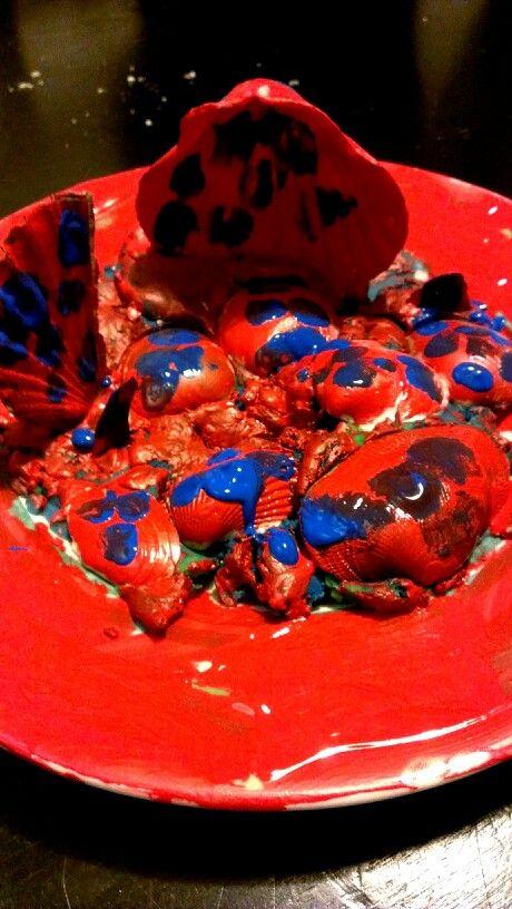 Installation Art, using Playdow, acrylic paint and sea shells.