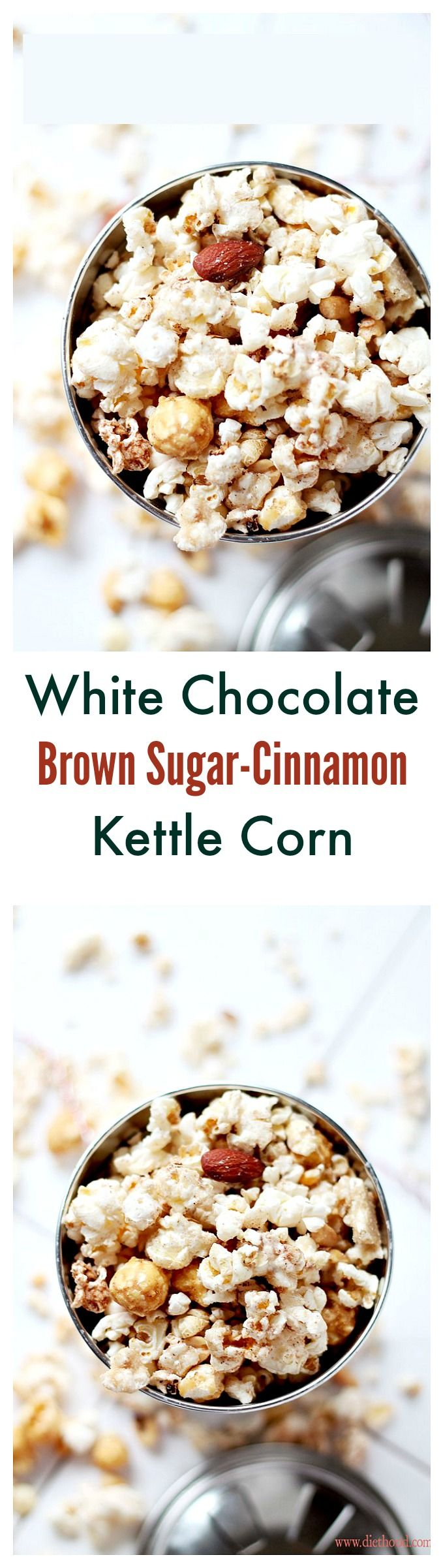 Delicious and festive Kettle Corn covered with melted white chocolate, brown sugar and cinnamon.