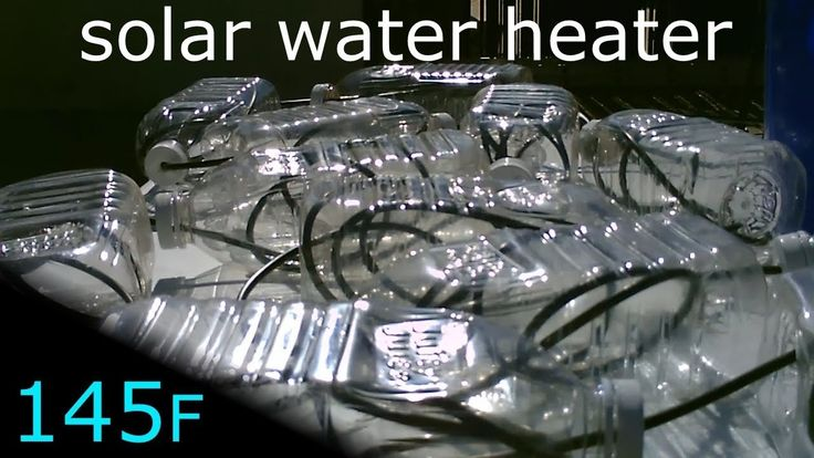 Solar Water Heater Made with poly tube and plastic bottles. Easy DIY. Constructed using plastic bottles and poly tube. temps up to 145F. this closed loop/off-grid design requires no municipal water hook up or plumbing. great small off-grid water heating system. youtube channel desertsun02