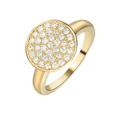 RING KAGI COSMOS 18CT YELLOW GOLD PLATED PAVE SET ROUND TOP CLEAR CUBIC ZIRCONIA SIZE 8 P1/2 - Jons Family Jewellers