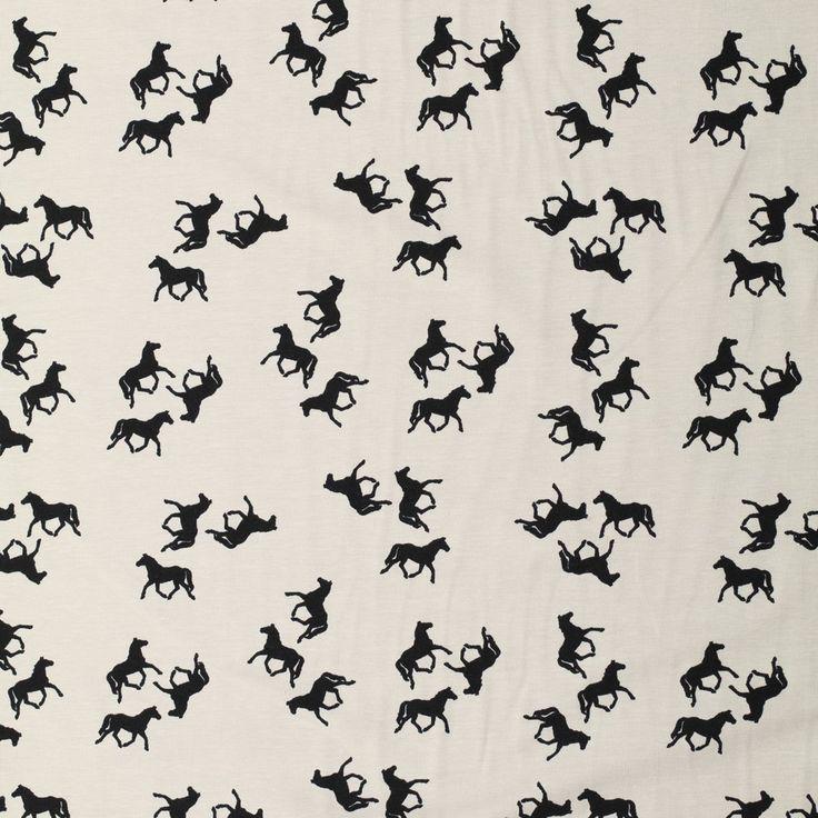 off white katoen stretch jersey met zwarte paarden bedrukt milliblus