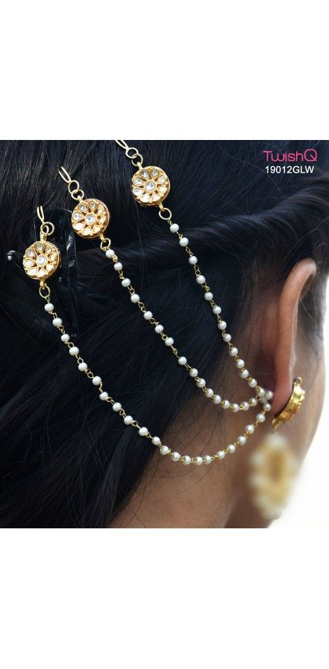 Bajirao Mastani inspired ear chain by TwishQ- Designer : Mansi  Verma  For more details visit - http://twishq.com/Head%20Accessories-210?product_id=1428    #KhulKeKheloHoli #Jewellery #IndianEthnicJewellery #BuyJewellery #Earchain #HeadChain #WeddingJewellery #Fashion #LatestFashion #Pintrust #Twishq