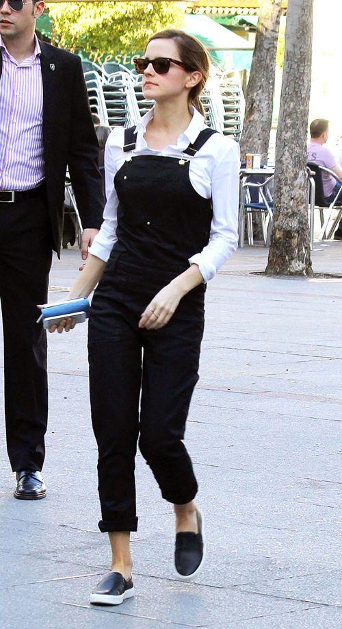 Emma Watson wearing our Frame Denim Le High Skinny Overall in Onyx…