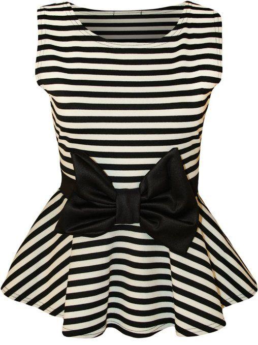 Striped Peplum Bow Top