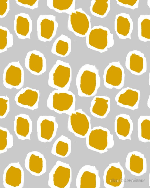 Neela - Abstract design mustard and grey by Charlotte Winter by charlottewinter