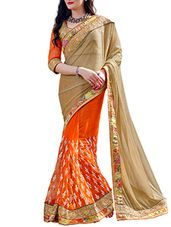 gold , orange lycra and net half  saree - Online Shopping for Sarees