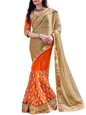 gold , orange lycra and net half  saree - Online Shopping for Sarees