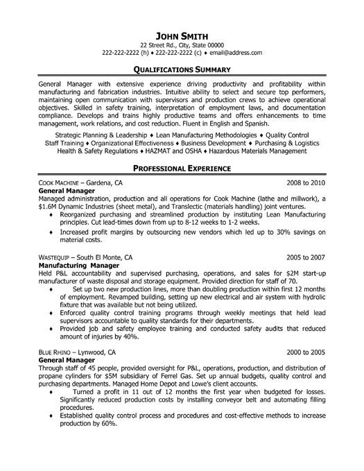 VP Operations  COO Sample Resume; Executive resume writer